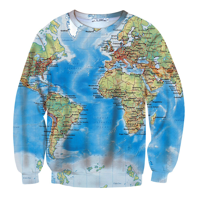World Map Sweater.2015 New Vintage Men World Map Printed Pullover Hoodies 3d Men S