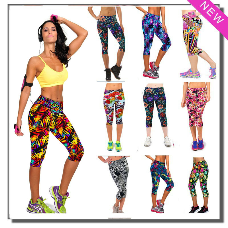 Women Sports Leggings Running Tights Fitness Pants Flower Slim Clothing  Pant Liner Pants For Female Yoga Lady Sports Tights 668c1a876d3a