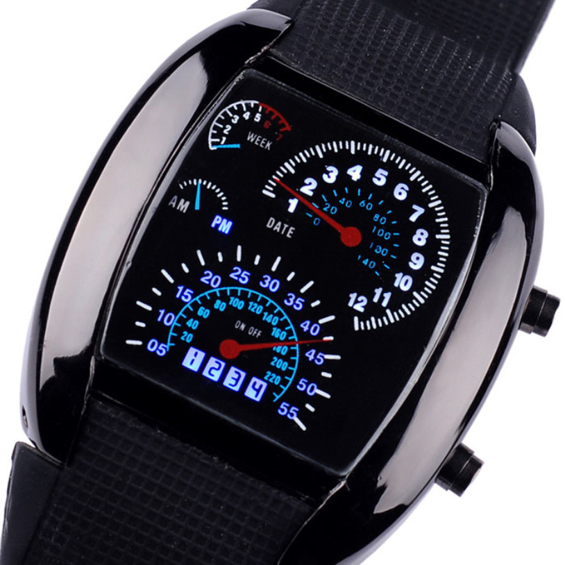 6976371ae New Arrival Unisex Luxury Geneva Watches women Aviation Turbo Dial Flash LED  Dress Watch Gift Mens Lady Sports Car Meter 1 Pcs