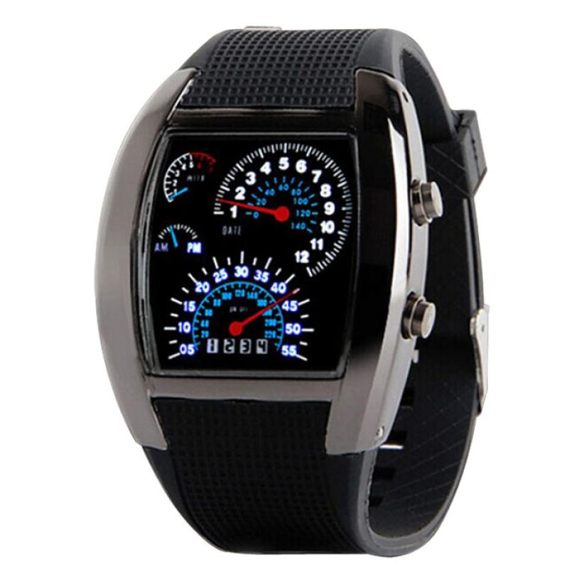 Fashion Aviation Turbo Dial Flash Led Watch Gift Mens Lady Sports Car Meter Oct28 Essential Essential Buy Now Watches